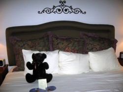 Our hotel came with a balloon and a teddy bear on the bed