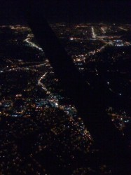 Night flight over Portland
