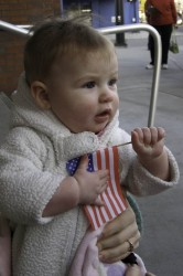 My daughter with an American Flag