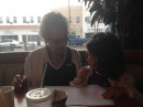 Coloring with Grandma Tootsie while waiting for our lunch