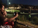 Photographing fireworks with my young assistant